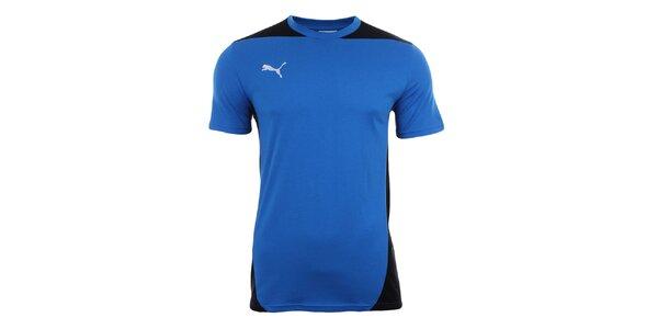 Pánske královsky modré tričko s čiernymi prvkami Puma