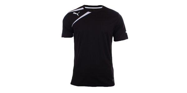 Pánske čierne tričko s bielymi prvkami Puma