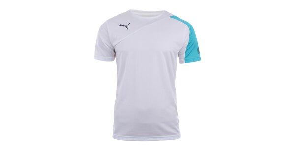Pánske biele športové tričko s tyrkysovým rukávom Puma