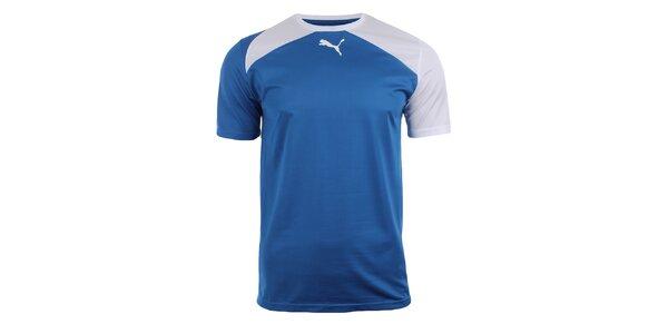 Pánske modré športové tričko s bielymi detailmi Puma
