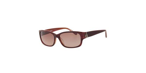 Dámske tmavo červené slnečné okuliare Calvin Klein