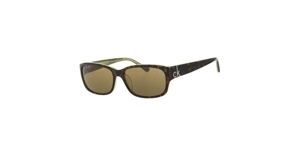 Dámske tmavo zelené korytnačie slnečné okuliare Calvin Klein