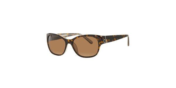 Dámske tmavo hnedé korytnačie slnečné okuliare Calvin Klein