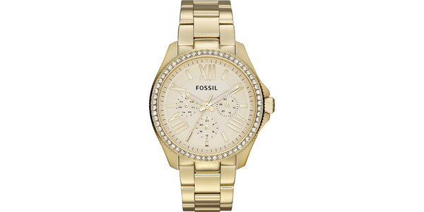 Dámske pozlátené analogové hodinky so zirkónmi Fossil