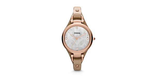 Dámske pozlátené hodinky s koženým remienkom Fossil