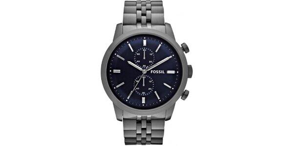 Pánske hodinky s modrým ciferníkom Fossil
