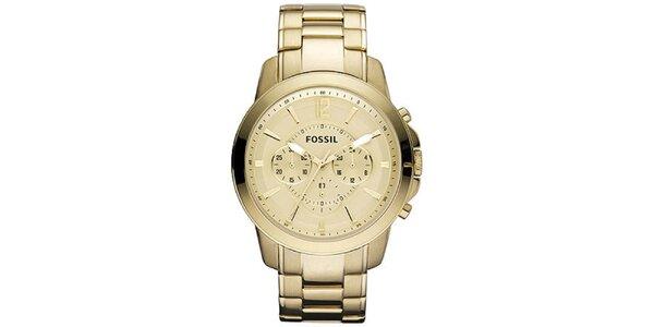 Pánske zlaté hodinky s chronografom Fossil