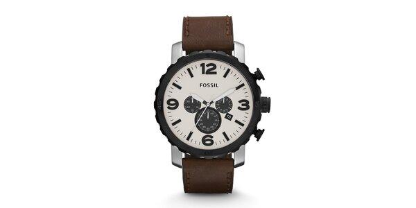 Pánske hodinky s bielym ciferníkom Fossil