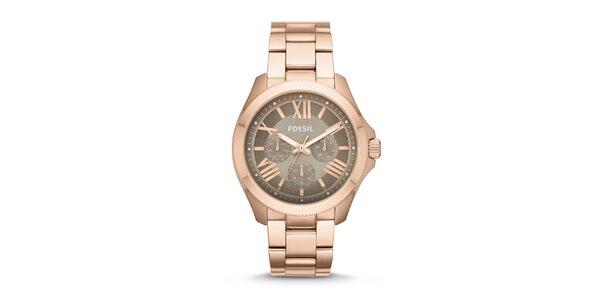 Dámske pozlátené analógové hodinky Fossil