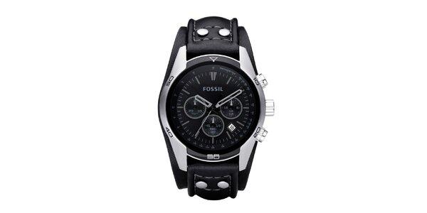 Pánske oceľové hodinky s čiernym koženým remienkom Fossil