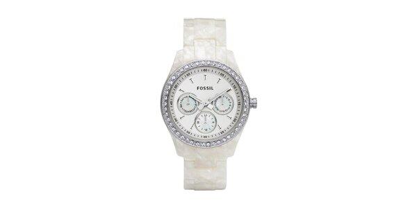 Dámske hodinky s perleťovým remienkom Fossil
