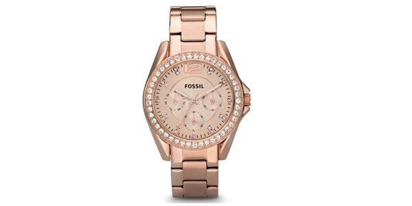 Dámske pozlátené hodinky so zirkónmi Fossil
