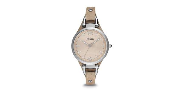 Dámske hodinky so svetlo hnedým remienkom Fossil
