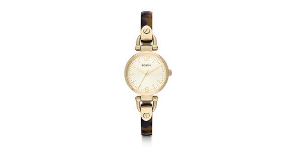 Dámske zlaté hodinky s hnedým remienkom Fossil