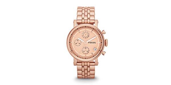 Dámske hodinky vo farbe ružového zlata Fossil