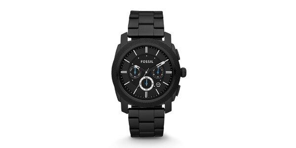 Pánske čierne hodinky s modrými ručičkami Fossil