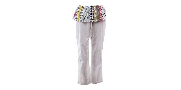Dámske krémovo biele nohavice s farebným volánom The Bees