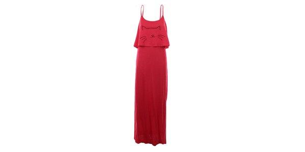Dámske červené dlhé šaty na ramienka The Bees
