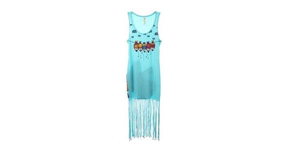 Dámske svetlo modré šaty so strapcami The Bees