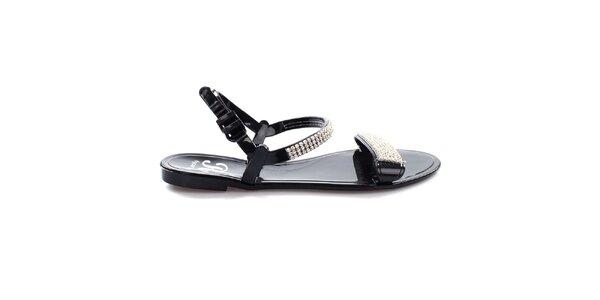 Dámske čierne sandálky s trblietkami So Real