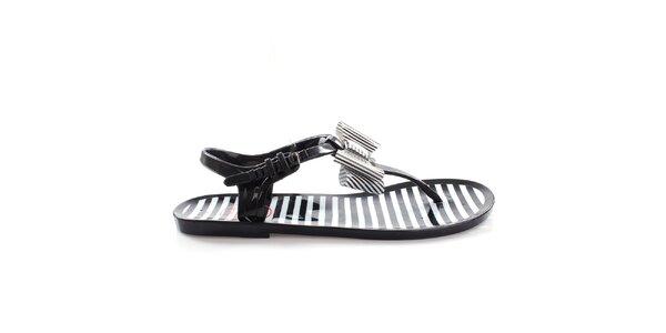 Dámske čierne sandálky s bielymi prúžkami So Real