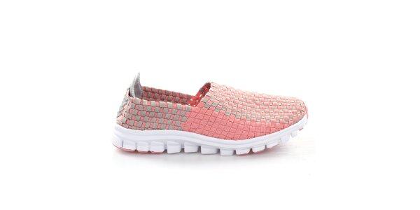 Dámske ružovo-šedé prepletané topánočky So Real