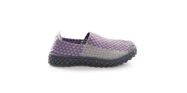 Dámske fialovo-šedé pletené topánočky So Real