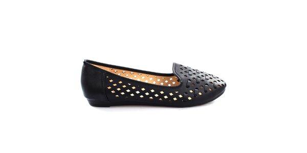 Dámske čierne perforované loafers So Real