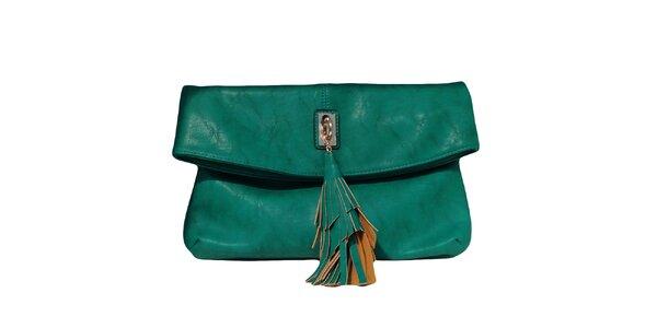 Dámska tmavo zelená kabelka so strapcom The Style London