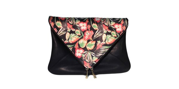 Dámska čierna taška s kvetinovou klopou The Style London