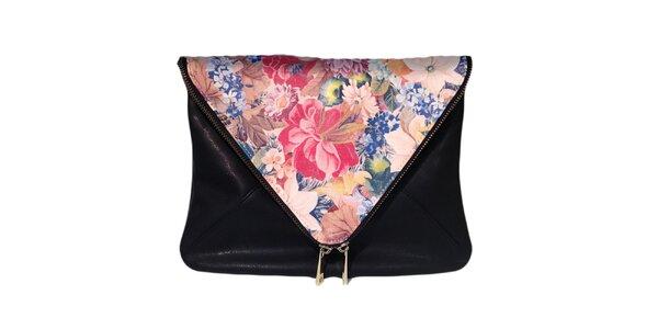 Dámska čierna taška s ružovou kvetinovou klopou The Style London