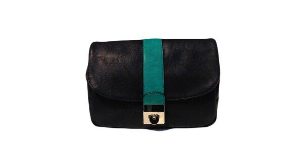 Dámska čierna kabelka so zeleným pruhom The Style London