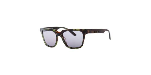 Pánske zeleno-hnedé žíhané slnečné okuliare Diesel