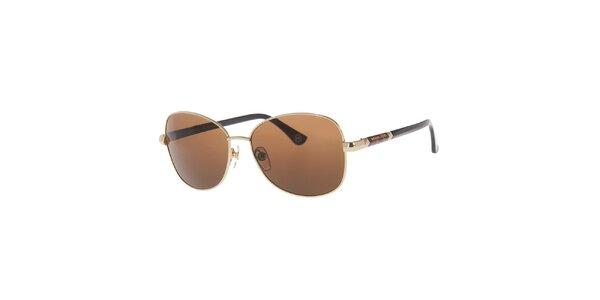 Dámske kovové oválne slnečné okuliare v zlatom prevedení Michael Kors