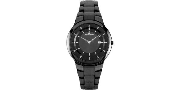 Dámske čierne okrúhle hodinky z ocele Jacques Lemans