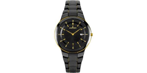 Dámske čierne okrúhle hodinky z ocele a žltými detailmi Jacques Lemans