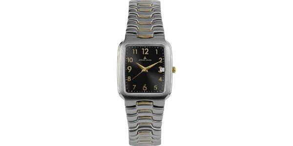 Pánske elegantné oceľové hodinky s čiernym ciferníkom Jacques Lemans