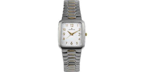 Pánske elegantné oceľové hodinky s bielym ciferníkom Jacques Lemans
