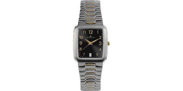 Dámske elegantné oceľové hodinky s čiernym ciferníkom Jacques Lemans