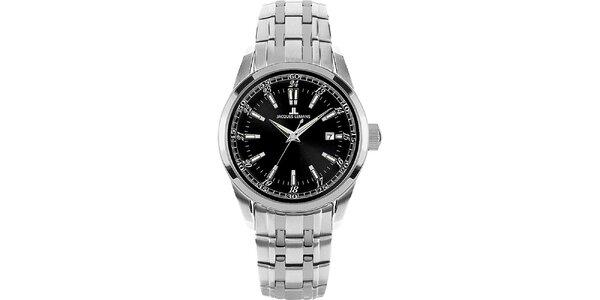 Dámske oceľové hodinky s okrúhlym čiernym ciferníkom Jacques Lemans