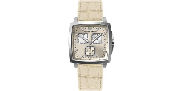 Pánske smotanové oceľové hodinky Jacques Lemans