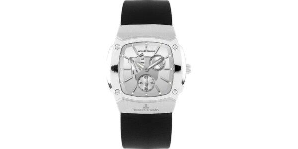 Pánske oceľové hodinky s hladkým čiernym remienkom Jacques Lemans