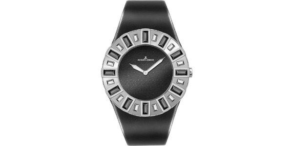 Dámske čierne hodinky s kryštáľmi Jacques Lemans