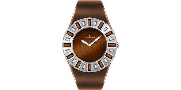 Dámske hnedé hodinky s kryštáľmi Jacques Lemans