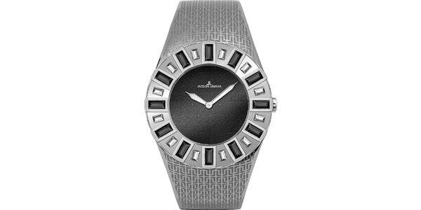 Dámske strieborné hodinky s kryštáľmi Jacques Lemans