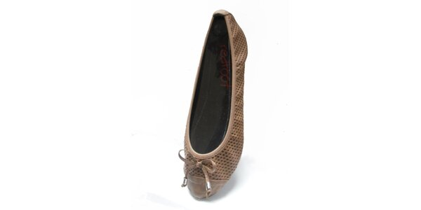 Dámske svetlo hnedé skladacie baleríny RedFoot s mašľou
