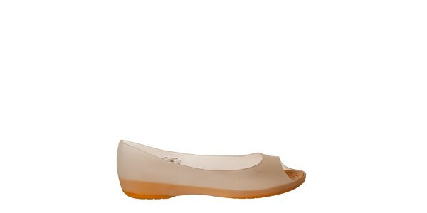 Dámske bielo-oranžové balerínky Crocs s otvorenou špičkou