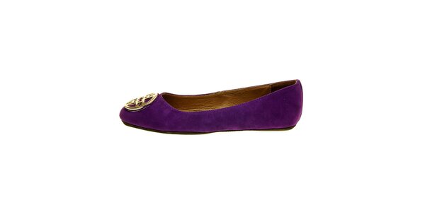Dámske purpurové semišové baleríny Hope so striebornou sponou