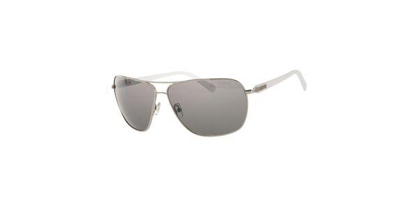 Pánske bielo-strieborné slnečné okuliare Calvin Klein s polarizovanými sklami