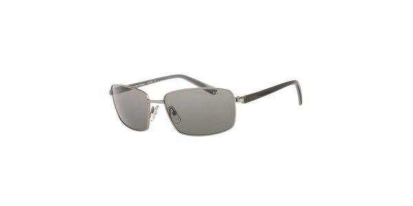 Pánske čierno-strieborné slnečné okuliare Calvin Klein s polarizovanými sklami